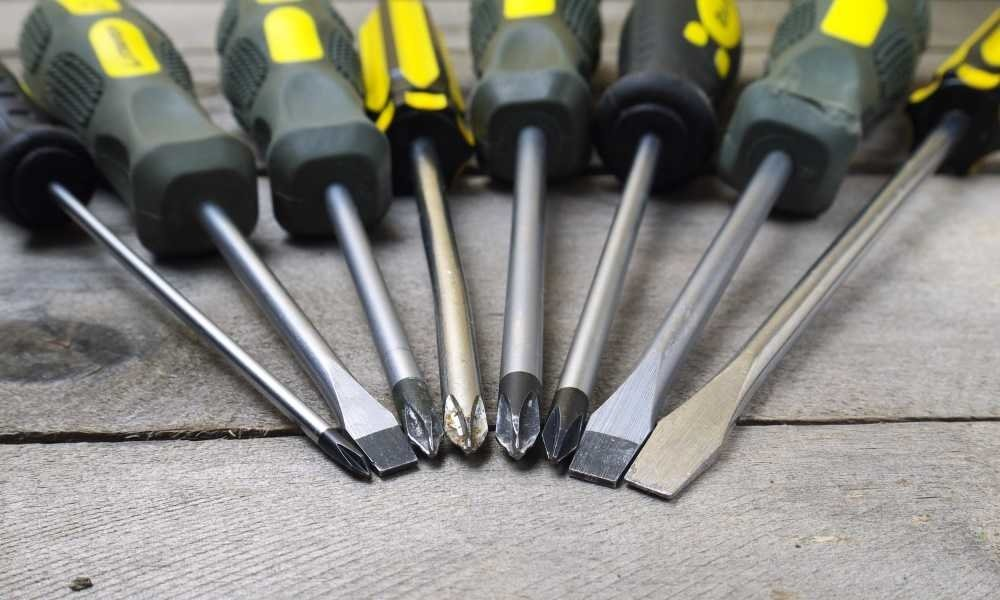 types of screwdrivers used in a workshop