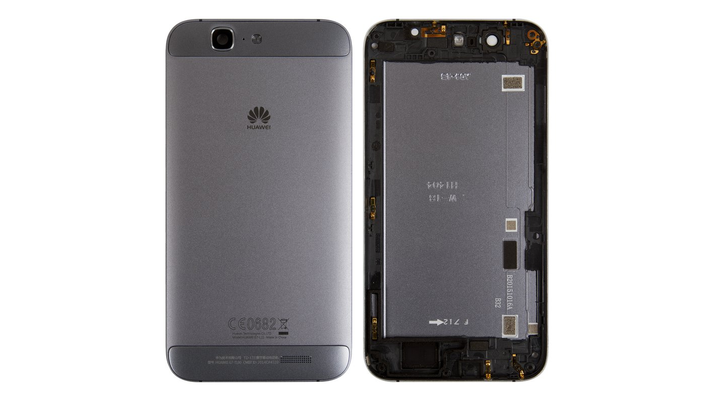 Housing Back Cover compatible with Huawei Ascend G7, (black, without SIM card tray, with side button)