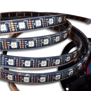 Tira de luces LED RGB SMD5050, WS2813 (con controles, negra, IP67, 5 V, 60 diodos LED/m, 5 m)