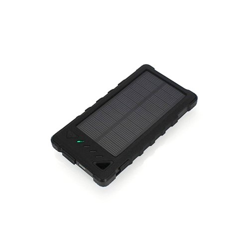 Cargador solar portátil con batería de 8000 mAh (2×USB, IP65, negro)